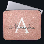 "Pink Rose Gold Glitter and Sparkle Monogram Laptop Sleeve<br><div class=""desc"">Pink Rose Gold Faux Glitter and Sparkle Elegant Monogram Case. This case can be customized to include your initial and first name.</div>"