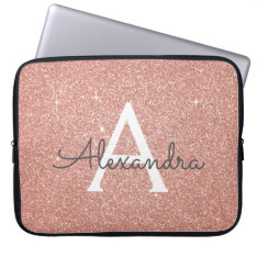 Pink Rose Gold Glitter And Sparkle Monogram Laptop Sleeve at Zazzle