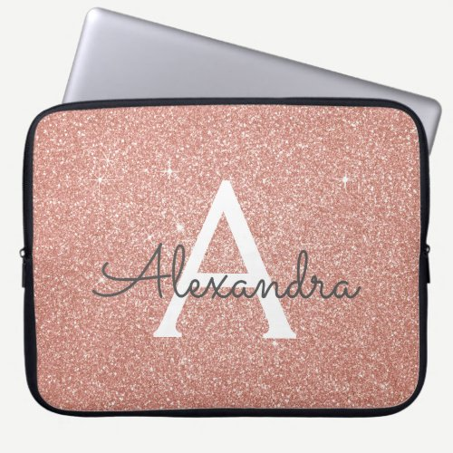 Pink Rose Gold Glitter and Sparkle Monogram Laptop Sleeve