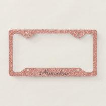 Pink Rose Gold Glitter and Sparkle Monogram License Plate Frame