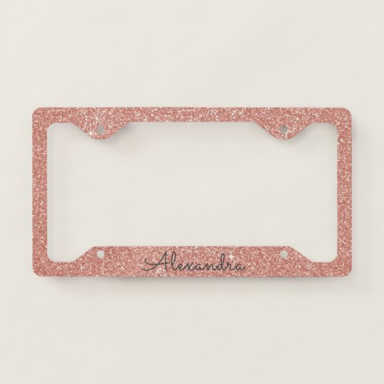 Pink Rose Gold Glitter and Sparkle Monogram License Plate Frame ...