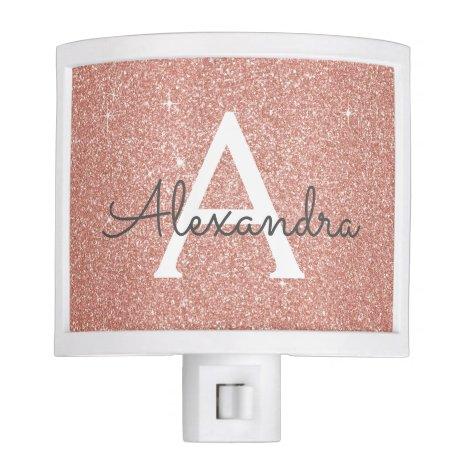Pink Rose Gold Glitter and Sparkle Monogram Night Light