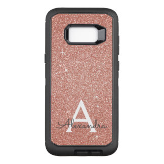 Pink Rose Gold Glitter and Sparkle Monogram OtterBox Defender Samsung Galaxy S8  Case