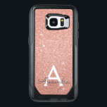 "Pink Rose Gold Glitter and Sparkle Monogram OtterBox Samsung Galaxy S7 Edge Case<br><div class=""desc"">Pink Rose Gold Faux Glitter and Sparkle Elegant Monogram Case. This case can be customized to include your initial and first name.</div>"
