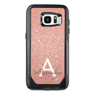 Pink Rose Gold Glitter and Sparkle Monogram OtterBox Samsung Galaxy S7 Edge Case