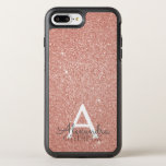 "Pink Rose Gold Glitter and Sparkle Monogram OtterBox Symmetry iPhone 8 Plus/7 Plus Case<br><div class=""desc"">Pink Rose Gold Faux Glitter and Sparkle Elegant Monogram Case. This case can be customized to include your initial and first name.</div>"