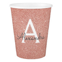 Pink Rose Gold Glitter and Sparkle Monogram Paper Cup