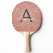 Pink Rose Gold Glitter and Sparkle Monogram Ping Pong Paddle