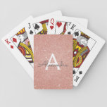 """Pink Rose Gold Glitter and Sparkle Monogram Playing Cards<br><div class=""""desc"""">Pink Rose Gold Faux Glitter and Sparkle Elegant Monogram Playing Cards. These playing cards can be customized to include your initial and first name and make a great party favor for a bachelorette party.</div>"""