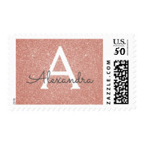 Pink Rose Gold Glitter and Sparkle Monogram Postage