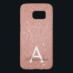 """Pink Rose Gold Glitter and Sparkle Monogram Samsung Galaxy S7 Case<br><div class=""""desc"""">Pink Rose Gold Faux Glitter and Sparkle Elegant Monogram Case. This case can be customized to include your initial and first name.</div>"""
