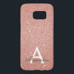 "Pink Rose Gold Glitter and Sparkle Monogram Samsung Galaxy S7 Case<br><div class=""desc"">Pink Rose Gold Faux Glitter and Sparkle Elegant Monogram Case. This case can be customized to include your initial and first name.</div>"