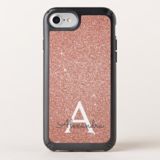 Pink Rose Gold Glitter and Sparkle Monogram Speck iPhone Case