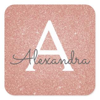 Pink Rose Gold Glitter and Sparkle Monogram Square Sticker