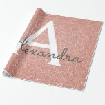 """Pink Rose Gold Glitter and Sparkle Monogram Wrapping Paper<br><div class=""""desc"""">Pink Rose Gold Faux Glitter and Sparkle Elegant Gift Wrapping Paper. This gift wrapping paper can be customized to include your initial and first name for a gift package for a Girl's Baby Shower,  Bridal Shower,  Bachelorette Party or Girl's Birthday Party.</div>"""