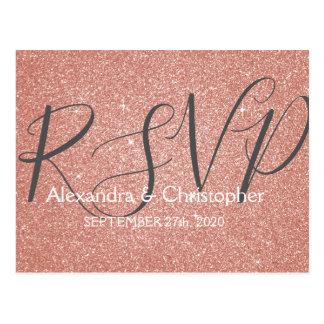Pink Rose Gold Glitter and Sparkle RSVP Postcard