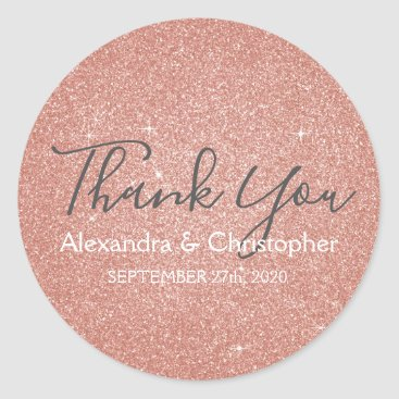 Wedding Themed Pink Rose Gold Glitter and Sparkle Thank You Classic Round Sticker