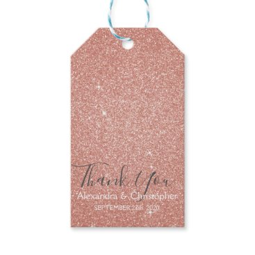 Wedding Themed Pink Rose Gold Glitter and Sparkle Thank You Gift Tags