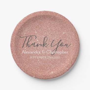 Wedding Themed Pink Rose Gold Glitter and Sparkle Thank You Paper Plate