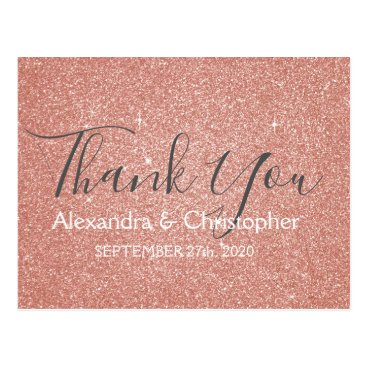Wedding Themed Pink Rose Gold Glitter and Sparkle Thank You Postcard