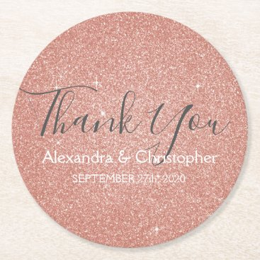 Wedding Themed Pink Rose Gold Glitter and Sparkle Thank You Round Paper Coaster