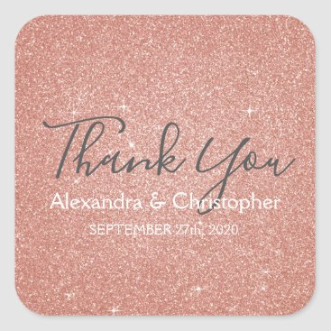 Wedding Themed Pink Rose Gold Glitter and Sparkle Thank You Square Sticker