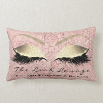 Pink Rose Gold Glitter Glam Makeup Lashes Beauty Lumbar Pillow