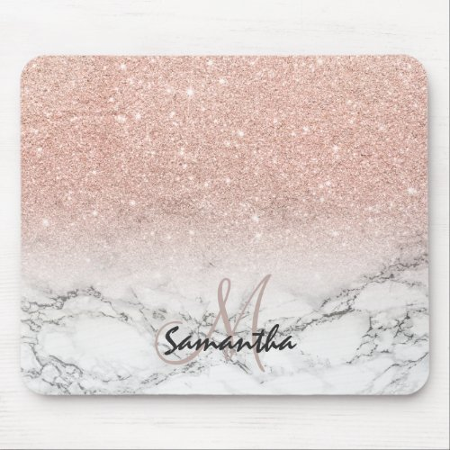 Pink rose gold glitter ombre white marble monogram mouse pad