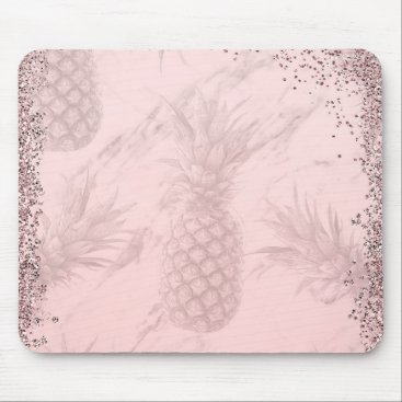 Beach Themed Pink Rose Gold Glitter Pineapple Tropical Chic Mouse Pad