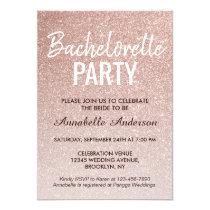 Pink Rose Gold Glitter Sparkle Bachelorette Party Invitation
