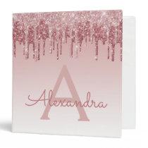 Pink Rose Gold Glitter & Sparkle Monogram 3 Ring Binder
