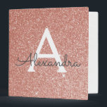 "Pink Rose Gold Glitter & Sparkle Monogram 3 Ring Binder<br><div class=""desc"">Pink Rose Gold Faux Glitter and Sparkle Elegant Binder for School,  Office or Wedding Planning. These Binders can be customized to include your initial and first name.</div>"