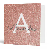 Pink Rose Gold Glitter & Sparkle Monogram 3 Ring Binder