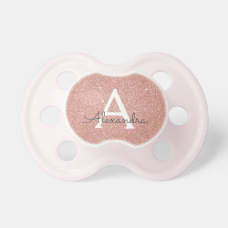 Pink Rose Gold Glitter & Sparkle Monogram Baby Pacifier