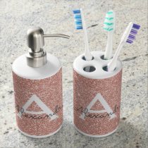 Pink Rose Gold Glitter & Sparkle Monogram Bath Set
