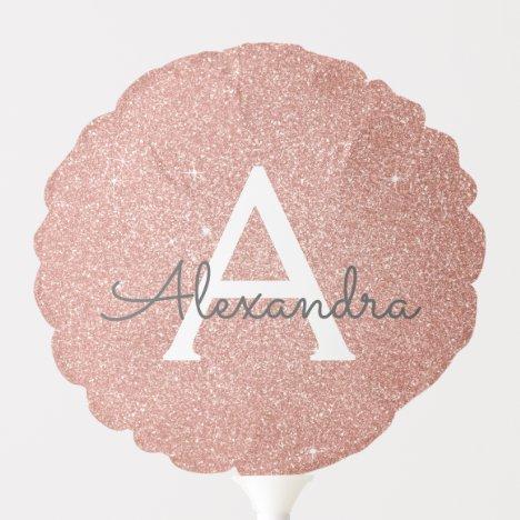 Pink Rose Gold Glitter & Sparkle Monogram Birthday Balloon