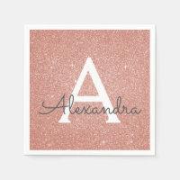 Pink Rose Gold Glitter & Sparkle Monogram Birthday Napkin