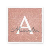 Pink Rose Gold Glitter & Sparkle Monogram Birthday Napkin