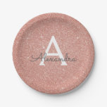 Pink Rose Gold Glitter &amp; Sparkle Monogram Birthday Paper Plate<br><div class='desc'>Pink Rose Gold Faux Glitter and Sparkle Elegant Birthday or Bachelorette Party Plates. These Birthday Party Plates can be customized to include your initial and first name.</div>