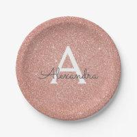 Pink Rose Gold Glitter & Sparkle Monogram Birthday Paper Plate