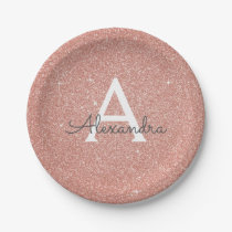 Pink Rose Gold Glitter & Sparkle Monogram Birthday Paper Plate