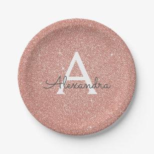 Pink Rose Gold Glitter u0026 Sparkle Monogram Birthday Paper Plate  sc 1 st  Zazzle & Paper Plates | Zazzle