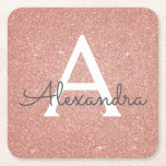 """Pink Rose Gold Glitter &amp; Sparkle Monogram Birthday Square Paper Coaster<br><div class=""""desc"""">Pink Rose Gold Faux Glitter and Sparkle Elegant Monogram Birthday Party Coasters. These Birthday Party,  Bridal Shower,  Wedding or Bachelorette Party Coasters can be customized to include your initial and first name. Please contact the designer for customized matching items.</div>"""
