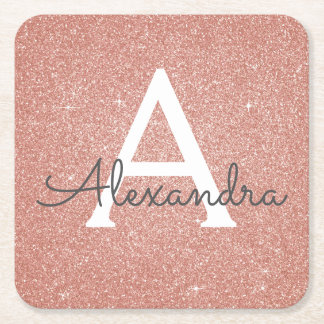 Pink Rose Gold Glitter & Sparkle Monogram Birthday Square Paper Coaster
