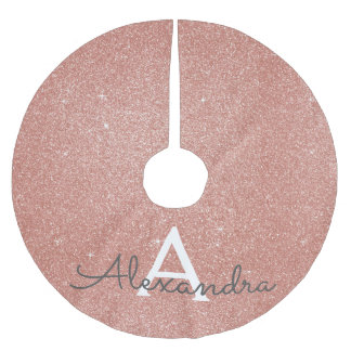 Pink Rose Gold Glitter & Sparkle Monogram Brushed Polyester Tree Skirt