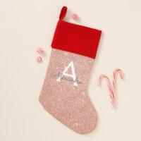 Pink Rose Gold Glitter & Sparkle Monogram Christmas Stocking