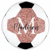 Pink Rose Gold Glitter Sparkle Monogram Girl's Soccer Ball