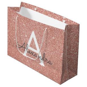Pink Rose Gold Glitter Sparkle Monogram Large Gift Bag