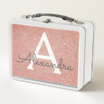 "Pink Rose Gold Glitter & Sparkle Monogram Metal Lunch Box<br><div class=""desc"">Pink Rose Gold Faux Glitter and Sparkle Elegant Lunch Box. The Lunch Box can be customized to include your initial and first name.</div>"