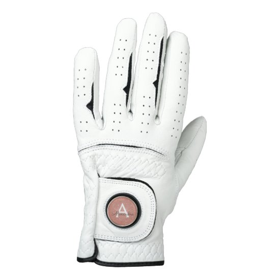 Pink Rose Gold Glitter & Sparkle Monogram Name Golf Glove